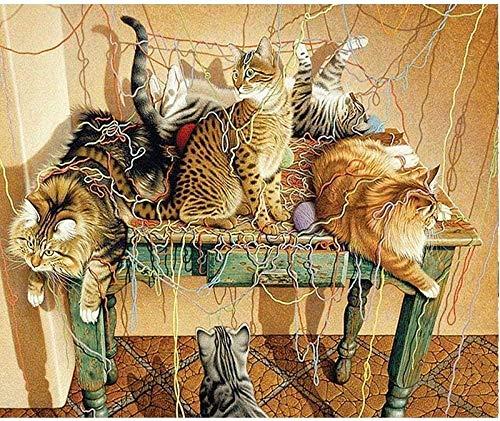 Kit de pintura de diamantes 5D para adultos, niños, bordado de taladro completo redondo, punto de cruz, arte, suministro de lienzo para decoración de la pared del hogar, gato jugando con hilo -40x50cm