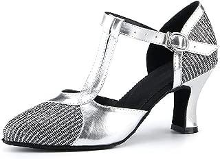 Miyoopark Women's T-Strap Two-Tone Glitter Buckle Latin Salsa Dance Pumps