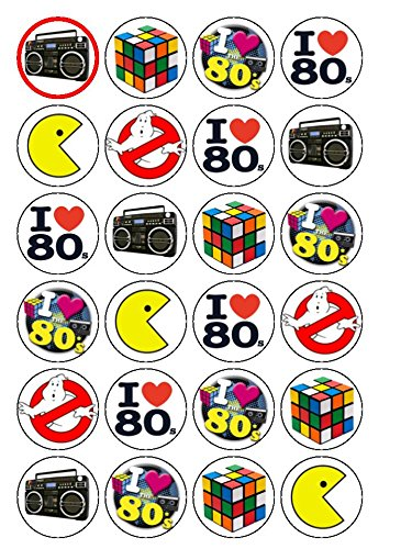 80s Edible Cake Toppers. 24x 80's Eighties Mix 1.5 (3.8cm Pre-cut premium rice paper. Ideal for adding to a big or small cakes such as cupcakes.