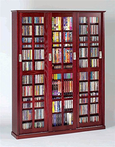 Leslie Dame Mission Style Multimedia Storage Cabinet with Sliding Glass Doors, Cherry