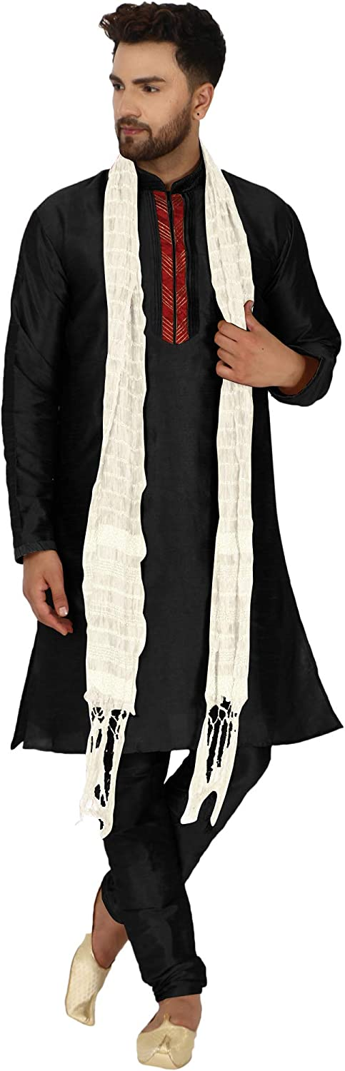 SKAVIJ Men's Art Silk Kurta Pajama Challenge the lowest price of Japan ☆ All stores are sold Suit Ethnic Scarf and Wedding