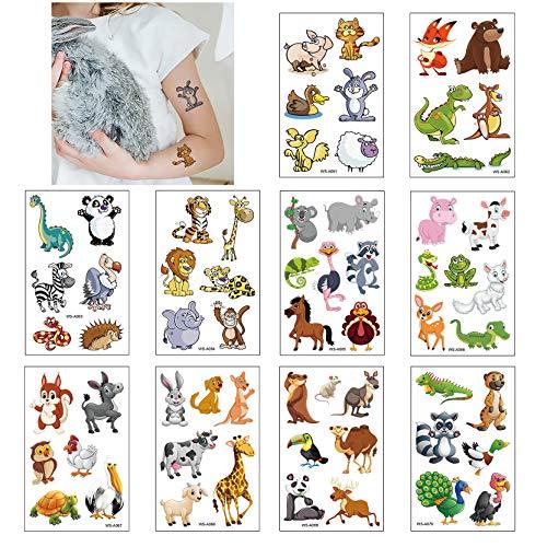 Tatuaggi Temporanei per Bambini, 10 Fogli Tatuaggi Finti Set per Bambini de Animale, Tatuaggio Impermeabile per Ragazze Ragazzi, Tatuaggio per Feste d