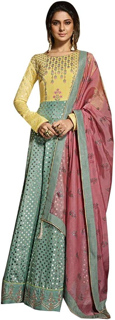 Indian Bollywood Designer Evening Cocktail Silk Yoke Anarkali Suit Abaya Gown Women Party wear Bespoke 7967
