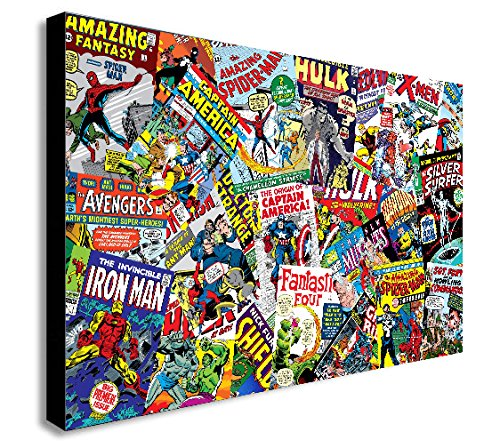Marvel Comics-Collage Leinwand Kunstdruck, holz, A3 16x12inch