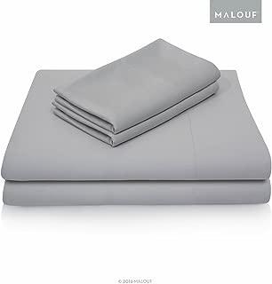 MALOUF 100% Rayon from Bamboo Sheet Set-4-pc Set-King, King, Ash
