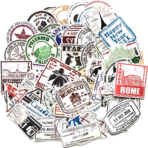 JINER European and American Trend Retro Postmark Luggage Sticker Suitcase Computer Guitar Waterproof Stamp Skateboard Water Cup Sticker