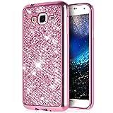 Kompatibel mit Galaxy On5 Hülle,Galaxy On5 Handyhülle,Glänzend Glitzer Bling Diamant Weich Überzug TPU Bumper Handy Hülle Tasche Metallic Chrom Bumper Handyhülle Schutzhülle für Galaxy On5 G550,Rosa