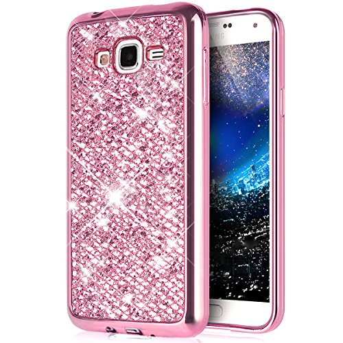 ikasus Coque Galaxy A5 Etui Brillant scintillement bling Briller Glitter paillettes Placage Gel Silicone TPU avec Cadre Brilliant Chromé Etui Coque Housse pour Galaxy A5 Etui,Rose