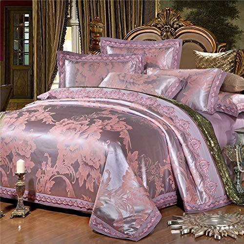 Yaonuli satijn satijn Jacquard vierdelig rode bloem zacht bloem - zilver oranje 1,5 m - standaard bed 1,8 m