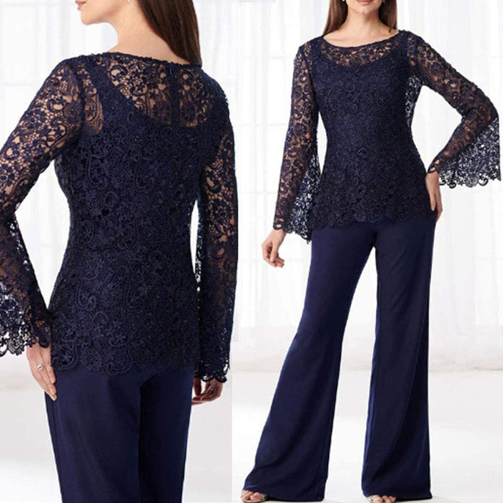 HYC Lace Mother of The Bride Pant Suit Plus Size Chiffon Formal Evening Gowns for Women Royal Blue