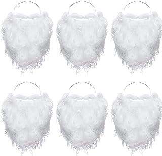 6 Pièces Drôles Père Noël Barbe Costume Fausse Barbe Blanche Noël Père Noël Barbe Accessoires de Costume pour Adolescents ...
