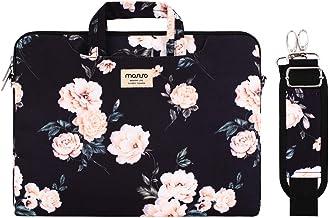 MOSISO Laptop Tasche Hülle Kompatibel mit 2020 2019 MacBook Pro 16 Zoll A2141,15 15.4 15.6 Zoll Dell Lenovo HP Acer Samsung Sony Chromebook,Kamelie Tragetasche Schutzhülle mit Trolley Gürtel,Schwarz