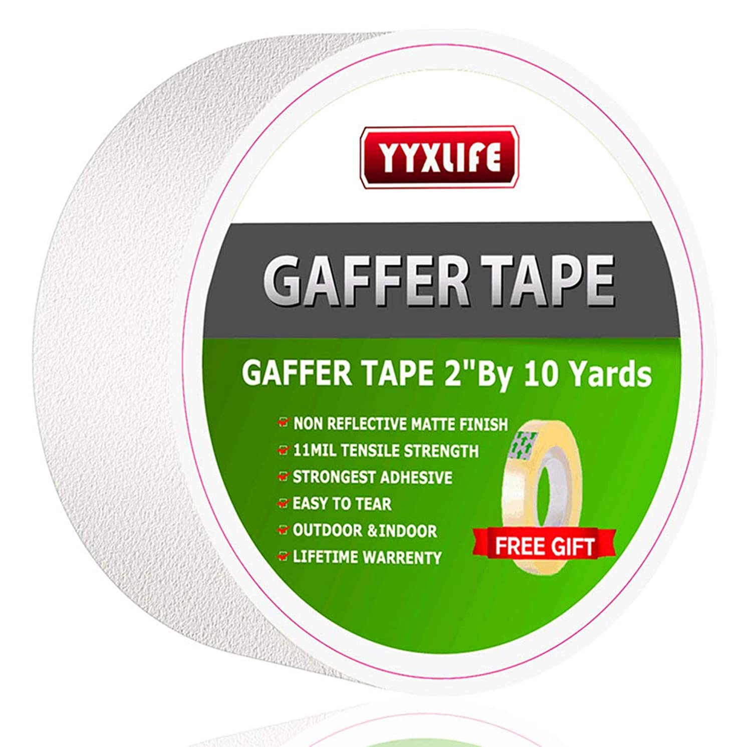 Premium Grade Gaffer Tape, Non-Reflective Matte Gaff Main Stage Tape,Electrical Tape,Duct Tape for Photographers,Waterproof Heavy Duty Gaffers Tape (2 Inch X 10 Yards, White)