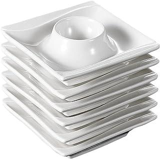 """WZHZJ 6 pièces 4""""Tasses d'œufs d'œufs Ivoire Porcelaine blanche Chine Céramique Crème Cuisine Blanc Cuisine Petit déjeuner..."""
