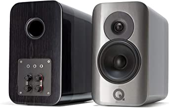 Q Acoustics Concept 300 Bookshelf Speaker Pair with Stands (Silver Ebony)
