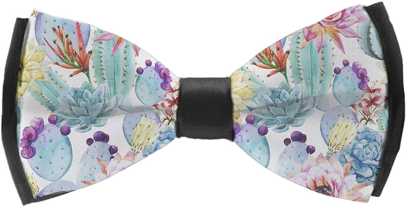 Men's Pre Tied Bow Ties for Wedding Party Adjustable Bowties(Cactus Succulents)