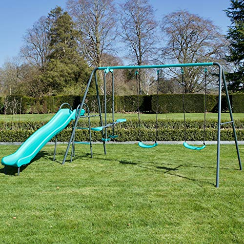 Rebo Children's Metal Garden Play Set Range, Single Swing, Double Swing, Single Swing & Glider, Double Swing & Glider, Double Swing & Glider, Free Standing Slide, Climbing Domes