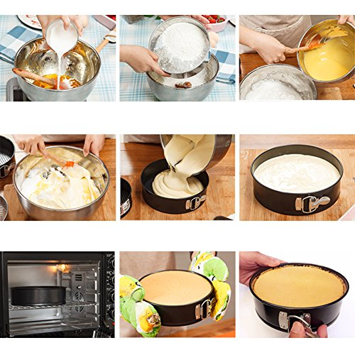 MZCH 9 inches Nonstick Springform Cake Pan Round Cheesecake Pan with Removable Bottom and Quick-Release Latch
