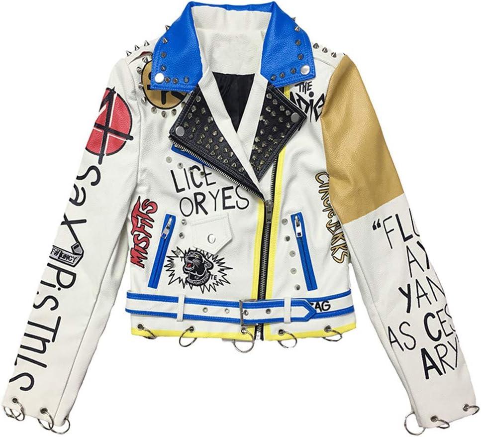 Snhpk Women's Punk Rivet Leopard Jacket Rivet Faux Leather Long Sleeves Lapel Casual Rock Motorcycle Moto Coat Outwear,White,S