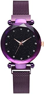 Watches for Women,Fashion Ladies Watch Magnetic Mesh Watches Clearance Women's Starry Sky Diamond Quartz Analog Watch Round Dial Wrist Watches with Magnetic Mesh Band Watch