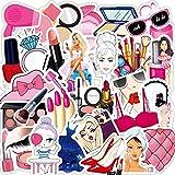 DONGJI Pink Girl Makeup Set Lápiz Labial Botella de Perfume Impermeable PVC Trolley Case Sticker Graffiti Sticker 50pcs