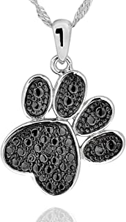925 Sterling Silver Diamond Accent Black Plated Paw Print Pendant Necklace