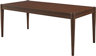 Walker Edison Furniture Company Mid Century Modern Rectangle Wood Coffee Table Living Room Ottoman Storage Shelf, 46 Inch, Walnut
