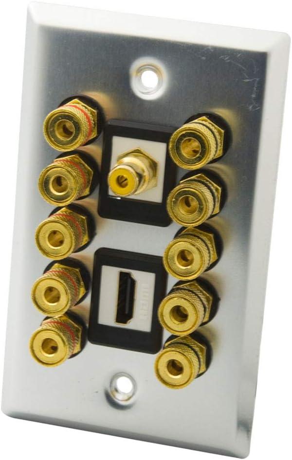 YinXiong Aluminum Metal Home Theater Banana Plug Binding Post 5.1 5.2 Speaker Wall Plate With Additional 1 Port HDMI 1 Port RCA (5.1)