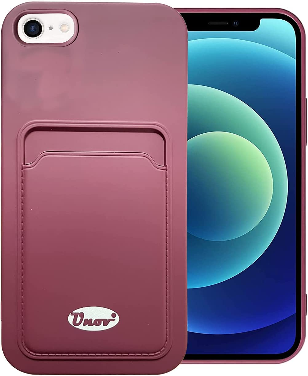 Unov Case Compatible with iPhone SE (2020) iPhone 8 iPhone 7 iPhone 6s iPhone 6 inch Soft Silicone Slim Protective Case with Card Holder Sleeve Wallet Card Pocket Cover Case (Wine Red)