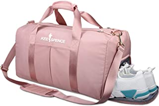 Gym Duffle Bag, with Shoe Compartment and Wet Pocket for Women Swim Sports Travel Gym Bag, 19.3 inch (Pink)