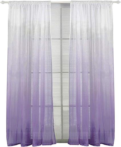 bailey jo 1piece rideau voilage passe tringle degrade de couleur lxh 140x240cm decoration de fenetre chambre salle de bain balcon violet