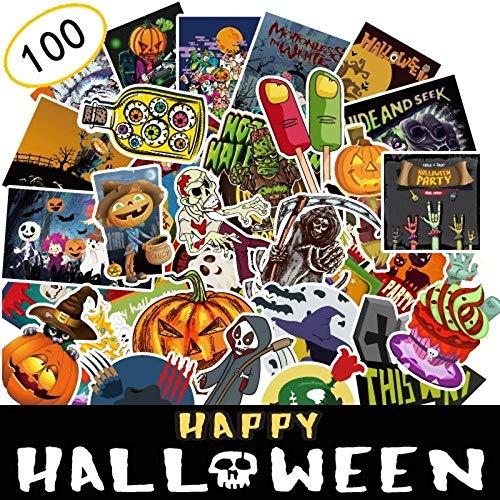 YRBB Sticker Pack 100 Stücke Nicht Wiederholen Halloween Graffiti Thema Serie Aufkleber Dekoriert Notebook Gepäck Motorrad Wand DIY Aufkleber