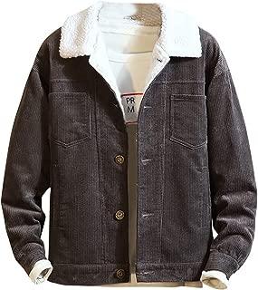 Men's Jacket Teens Winter Corduroy Outwear Fashion Lapel Thermal Coat Casual Overcoat