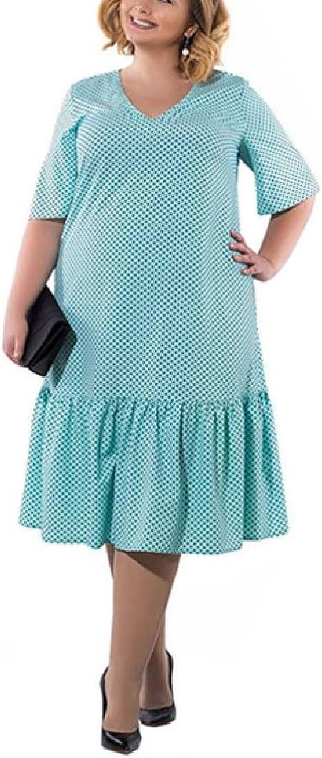 Women Plus Size Dot Print V-Neck Short Sleeve Office Mid Dress