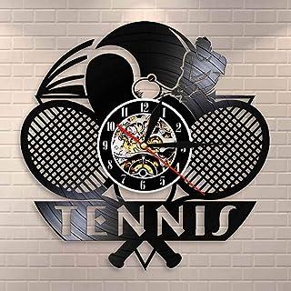 テニスロゴラケットコートボールデコレーションウォールクロックトーナメントテニスマッチグランドスラムビニールレコードウォールクロックテニスプレーヤーギフト