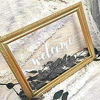 高品質クリアウェルカムボード×ゴールド額縁フレーム ウェディング/結婚式/ハートドロップス (大サイズ)