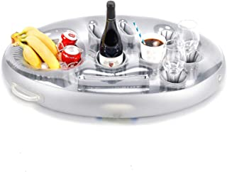 Inflatable Floating Drink Holder, Dia 28 Inch 8cavity Floating Pool Food Tray Inflatable Pool, Serving Bar for Summer Outd...