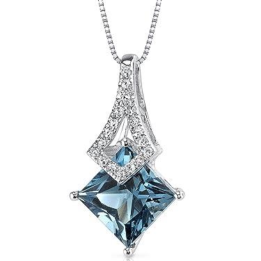 14 Karat White Gold Princess Cut 1.99 carats London Blue Topaz Diamond Pendant