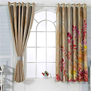 hengshu Rustic Home Decor Blackout Window Curtains Watercolor Bouquet of Wild Flowers Daisy Floral Beauty in Spring Theme Image Sliding Soundproof Curtains W72 x L107 Inch Multi