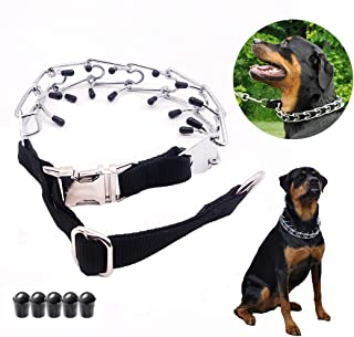 Mark deAndrew Dog Prong Collar with Quick Release Snap Buckle Adjustable Size Stainless Steel Plated Choke Pinch Training Collar for Medium and Large Dogs