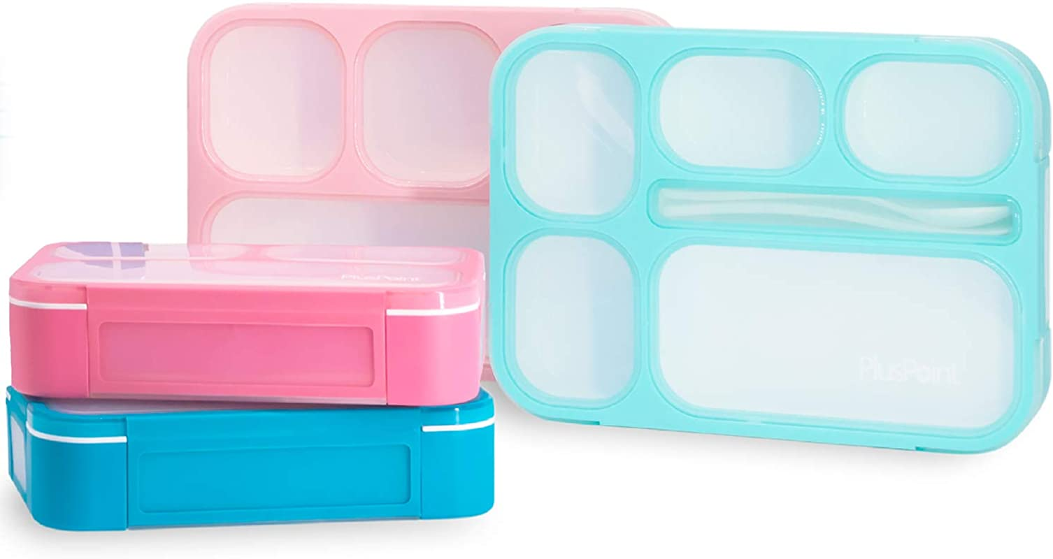 PlusPoint 4 Bento Boxes Set Perfect Lunch Box For Kids And Adults Meal Prep Made Easy Portable And Lightweight Leak Proof And Durable Microwave And Dishwasher Safe