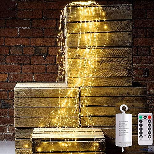 Nuevo tipo 11 hilos 220 LED centelleantes luces de hadas, 8 modos de parpadeo, hilo de cobre de hadas a prueba de agua, luces de decoración navideñas para jardín al aire libre (blanco cálido) Caja de