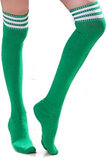 kniestrümpfe grün HugeStore HugeStore Damen Frauen Lange Streifen Socken Overknee Strümpfe Kniestrumpfe Strumpfhose Socken Grün Weiß