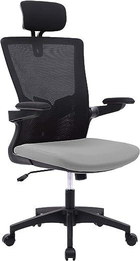 Wolmics Bürostuhl Ergonomisch Schreibtischstuhl Atmungsaktiver Mesh-Bürostuhl mit hoher Rückenlehne Verstellbare Kopfstütze und Lordosenstütze mit…
