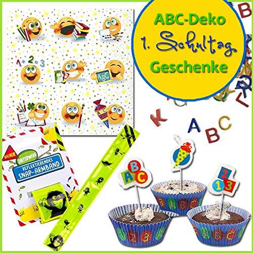 Erster Schultag Abc Deko Geschenke Muffinförmchen Kerzen Servietten Konfetti Schulanfang