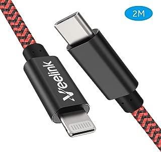 Veelink USB C auf Lightning Kabel, 200cm lang, MFi-Zertifiziert, Unterstützt Schnellladen mit Typ-C PD Ladegeräte, für iPhone 11/X/XS/XR/XS Max / 8/8 Plus, iPad Pro 12.9,iPad Air 3 (2M, Black and Red)