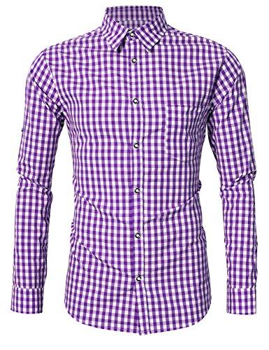 KOJOOIN Herren Trachtenhemd Slim fit kariert Langarmhemd Bestickt Baumwolle- (Verpackung MEHRWEG), Lila-2019, Gr.- M / 36