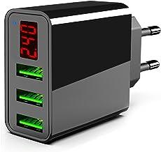 TTMOW Cargador USB de Pared con Pantalla LCD Visualización, Corriente Máxima De 2,4A por Cada Puerto (5V/3A), Compatible con Más Teléfonos Inteligentes (Negro)