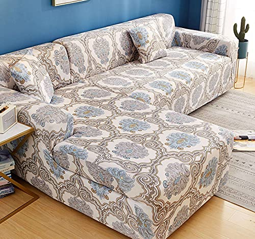 SLOUD Fundas de sofá seccionales, Funda de sofá en Forma de L, Fundas de sofá Antideslizantes para Sala de Estar, Fundas de sofá elásticas con 2 Fundas de Almohada-A-En Forma de l 3+3 plazas