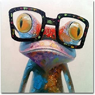 Crystal Emotion Happy Frog Wearing Glasses - Cartoon Animal Hand-Painted Oil Painting On Canvas Morden Abstract Wall Art Home Decoration